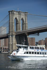Lower Manhattan and the Brooklyn Bridge viewed from the East River, New York City