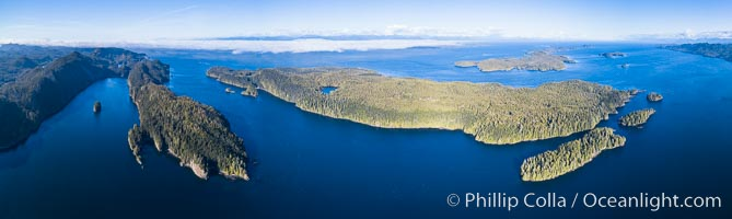 Browning Pass and Balaklava Island, location of the best cold water diving in the world, aerial panoramic photo. British Columbia, Canada, natural history stock photograph, photo id 34472