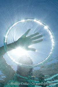A bubble ring. A child puts her hand through a bubble ring at it ascends through the water toward her