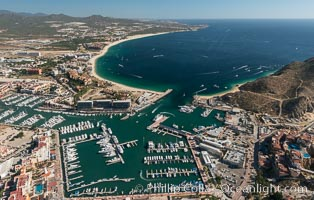 Cabo San Lucas, marina and downtown, showing extensive development and many resorts and sport fishing boats. Cabo San Lucas, Baja California, Mexico, natural history stock photograph, photo id 28884