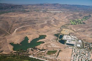 Camp Pendleton Marine Corps Base, with Marine Memorial Golf Course visible at far right. Oceanside, California, USA, natural history stock photograph, photo id 25994