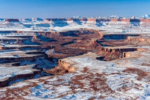 Soda Springs Basin in Canyonlands National Park, snow covered mesas and canyons, with the Green River far below, not far from its confluence with the Colorado River.  Island in the Sky