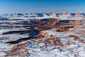Canyonlands National Park, snow covered mesas and canyons, with the Green River far below, not far from its confluence with the Colorado River.  Island in the Sky