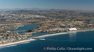 Aqua Hedionda Lagoon and Encina Power Station, Warm Water Jetties beach, Carlsbad, California, aerial photo