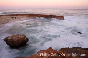 Childrens Pool (Casa Cove), waves blur at sunrise, La Jolla, California