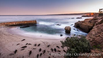 The Children's Pool, also known as Casa Cove, in pre-dawn light, La Jolla