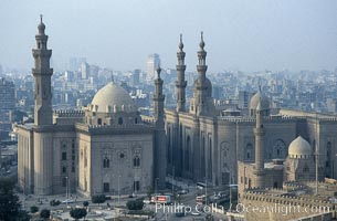 Sultan Hassan Mosque (l) and Mosque of ar-Rifai (r), viewed from the Citadel, Cairo, Egypt