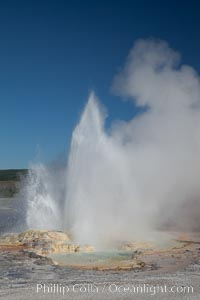 Clepsydra Geyser, a geyser which is almost continually erupting. A member of the Fountain Group of geothermal features, Lower Geyser Basin, Yellowstone National Park, Wyoming