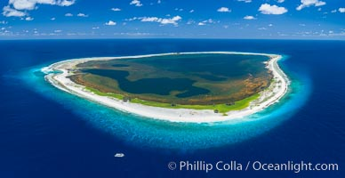 Aerial panorama of Clipperton Island, showing the entire atoll.  Clipperton Island, a minor territory of France also known as Ile de la Passion, is a small (2.3 sq mi) but  spectacular coral atoll in the eastern Pacific. By permit HC / 1485 / CAB (France). Clipperton Island, France, natural history stock photograph, photo id 32889