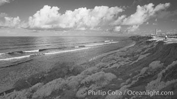 Coastal bluffs, waves, sky and clouds. Carlsbad, California, USA, natural history stock photograph, photo id 22741