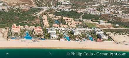 Hotel Riu along Medano Beach. Residential and resort development along the coast near Cabo San Lucas, Mexico