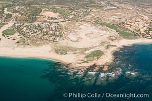 Underwater reef system along the coastline, sand beaches and residential and resort development along the coast near Cabo San Lucas, Mexico
