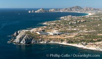 Punta Ballena, Faro Cabesa Ballena (foreground), Medano Beach and Land's End (distance). Residential and resort development along the coast near Cabo San Lucas, Mexico
