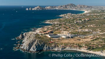 Punta Ballena, Faro Cabesa Ballena (foreground), Medano Beach and Land's End (distance). Residential and resort development along the coast near Cabo San Lucas, Mexico. Cabo San Lucas, Baja California, Mexico, natural history stock photograph, photo id 28930