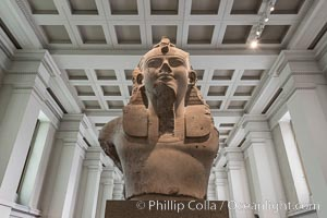 Colossal limestone bust of Amenhotep III, from the mortuary temple of Amenhotep III, Thebes, Egypt. 18th Dynasty, about 1350 BC, British Museum, London, United Kingdom