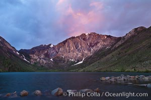 Sunrise and storm clouds over Convict Lake and Laurel Mountain, Eastern Sierra Nevada