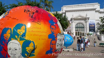 Cool Globes San Diego, an exhibit outside of the Natural History Museum at Balboa Park, San Diego.  Cool Globes is an educational exhibit that features 40 sculpted globes, each custom-designed by artists to showcase solutions to reduce global warming