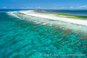 Coral Reef at Clipperton Island, aerial photo. Clipperton has healthy, beautiful coral reefs.  The white beaches are composed of white coralline rubble. Clipperton Island, a minor territory of France also known as Ile de la Passion, is a spectacular coral atoll in the eastern Pacific. By permit HC / 1485 / CAB (France). Clipperton Island, France, natural history stock photograph, photo id 32899
