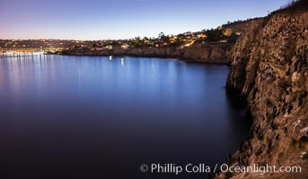 Cormorants rest at night above the La Jolla Caves. La Jolla Sea Caves, the famous La Jolla sea caves lie below tall cliffs at Goldfish Point. La Jolla, California, USA, natural history stock photograph, photo id 28827