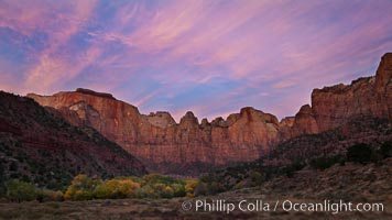 Court of the Patriarchs, sunrise. Zion National Park, Utah, USA, natural history stock photograph, photo id 26115