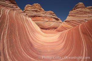 The Wave.  The main corridor of the Wave, a famous and curiously shaped sandstone bowl, North Coyote Buttes, Paria Canyon-Vermilion Cliffs Wilderness, Arizona