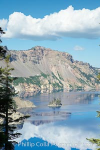 Crater Lake and Phantom Ship. Crater Lake is the six-mile wide lake inside the collapsed caldera of volcanic Mount Mazama. Crater Lake National Park, Oregon, USA, natural history stock photograph, photo id 13935