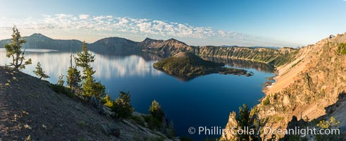 Crater Lake panoramic photograph.  Panorama picture of Crater Lake National Park