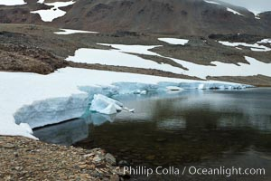 Crean Lake, with permanent ice and snow, near the pass over South Georgia Island between Fortuna Bay and Stromness Bay. South Georgia Island, natural history stock photograph, photo id 24589