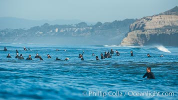 Crowded lineup, North County, San Diego, California