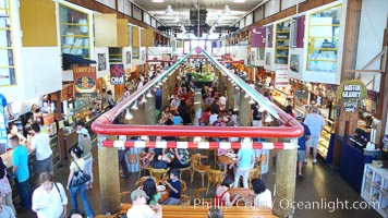 Crowds enjoy the food and offerings at the Public Market, Granville Island, Vancouver