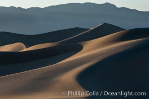 Sand Dunes, California.  Near Stovepipe Wells lies a region of sand dunes, some of them hundreds of feet tall.,  Copyright Phillip Colla, image #15577, all rights reserved worldwide.