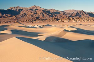 Sand Dunes and the Grapevine Mountains, California.  Near Stovepipe Wells lies a region of sand dunes, some of them hundreds of feet tall. Stovepipe Wells, Death Valley National Park, California, USA, natural history stock photograph, photo id 15634