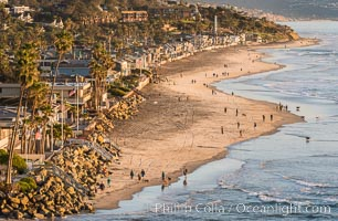 Del Mar beach and homes at sunset. Del Mar, California, USA, natural history stock photograph, photo id 30491