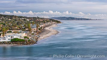 Del Mar beach and homes at sunset