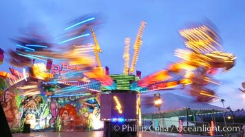 Del Mar Fair rides at night, blurring due to long exposure