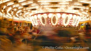 Del Mar Fair rides at night, blurring due to long exposure