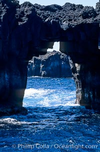 Arcos del Diablo (Devils Arches), a series of enormous volcanic arches that were originally lava tubes.  Some of the arches are exposed above water (seen here) while at least one that we discovered is entirely submarine (El Secreto del Vicki).  Weather side of Guadalupe Island (Isla Guadalupe)