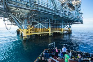 Scuba Divers at Oil Rig Eureka, 8.5 miles off Long Beach, California, lies in 720' of water. Long Beach, California, USA, natural history stock photograph, photo id 31089