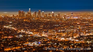 Downtown Los Angeles at night, street lights, buildings light up the night. Los Angeles, California, USA, natural history stock photograph, photo id 27723