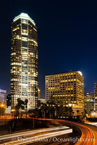 Downtown Los Angeles at night, street lights, buildings light up the night