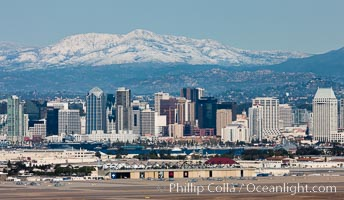 Downtown San Diego with snow-covered Mt. Laguna in the distance