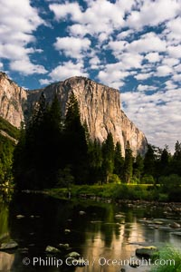 El Capitan and clouds lit by full moon, stars, evening, Yosemite National Park, California