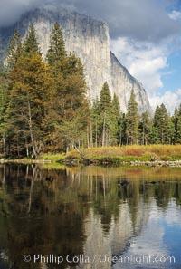 El Capitan and Merced River, Yosemite Valley. El Capitan, Yosemite National Park, California, USA, natural history stock photograph, photo id 05414