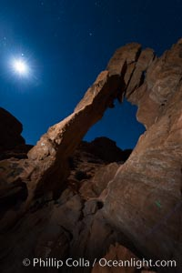 Elephant arch and stars at night, moonlight, Valley of Fire State Park