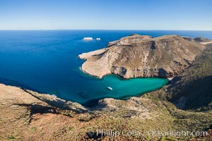 Ensenada el Embudo, Los Islotes in the distance, Aerial Photo, Isla Partida, Sea of Cortez. Isla Partida, Baja California, Mexico, natural history stock photograph, photo id 32443