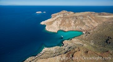 Ensenada el Embudo, Los Islotes in the distance, Aerial Photo, Isla Partida, Sea of Cortez. Isla Partida, Baja California, Mexico, natural history stock photograph, photo id 32446
