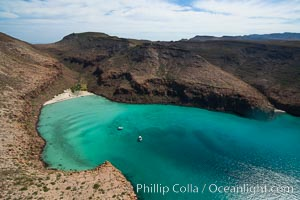 Ensenada Grande Aerial Photo, Isla Partida, Sea of Cortez. Isla Partida, Baja California, Mexico, natural history stock photograph, photo id 32411