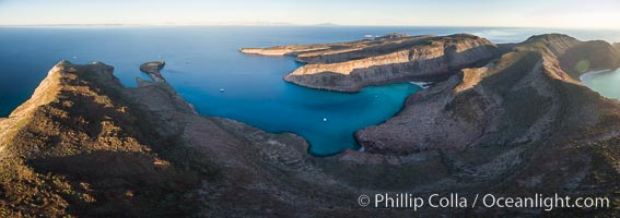 Ensenada Grande at Sunrise, Isla Partida, Sea of Cortez, Aerial Photo
