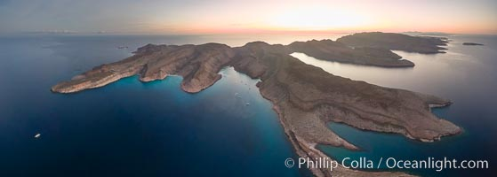 Ensenada Grande, Isla Partida, Sea of Cortez. From left to right: Punta Tintorera, Ensenada Grande, Punta Tijeretas, Las Cuevitas, El Cardonal. Los Islotes visible in distance at upper left. Isla Partida, Baja California, Mexico, natural history stock photograph, photo id 32404