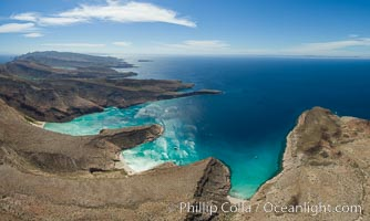 Ensenada Grande, Isla Partida, Sea of Cortez, aerial photo. Isla Partida, Baja California, Mexico, natural history stock photograph, photo id 32445